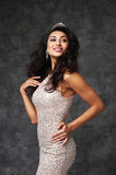 Beautiful indian lady in fitting dress and diadem Royalty Free Stock Images