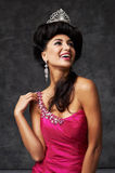 Beautiful indian lady in pink dress and diadem Royalty Free Stock Photography