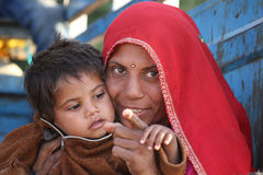 Beautiful Indian Mum with her son Stock Photo