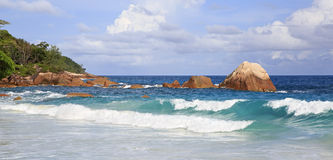 Beautiful Indian Ocean on the beach of Anse Lazio Stock Photo