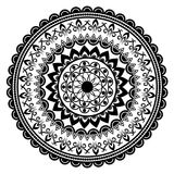 Beautiful Indian ornament, mandala pattern. Black and white Royalty Free Stock Photography