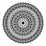 Beautiful Indian ornament, mandala pattern. Black and white Royalty Free Stock Image