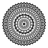 Beautiful Indian ornament, mandala pattern. Black and white Stock Photos