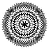 Beautiful Indian ornament, mandala pattern. Black and white Royalty Free Stock Photos