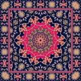 Beautiful indian rug with bright mandala and unusual ornamental border. Packaging design Stock Photos