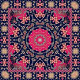 Beautiful indian rug with bright mandala and unusual ornamental border. Scarf. Vector print Stock Photos