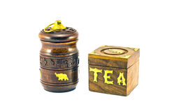 Beautiful indian tea wooden box souvenir isolated on white Stock Images