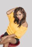 Beautiful indian teenager studio white background Royalty Free Stock Images