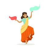Beautiful Indian woman in a colorful sari dancing national dance, colorful character vector Illustration. On a white background Royalty Free Stock Photo