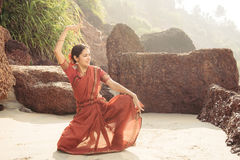 Beautiful indian woman dancer in traditional clothing Stock Photography