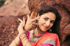 Beautiful indian woman dancer in traditional clothing royalty free stock image