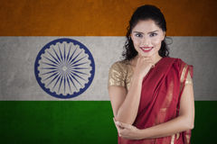 Beautiful indian woman with flag of india Stock Photography