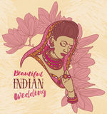 Beautiful indian woman and floral frame Royalty Free Stock Photography