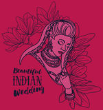 Beautiful indian woman and floral frame Royalty Free Stock Photo