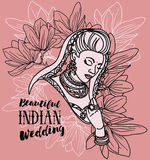Beautiful indian woman and floral frame Royalty Free Stock Photos