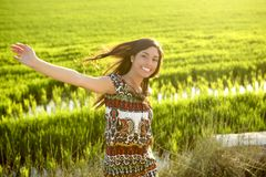 Beautiful indian woman in green rice fields Stock Images