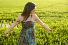 Beautiful indian woman in green rice fields Royalty Free Stock Images