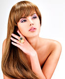 Beautiful indian  woman with long straight brown  hair Stock Photos