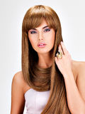 Beautiful indian  woman with long straight brown  hair Stock Image