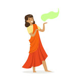 Beautiful Indian woman in an orange sari dancing national dance, colorful character vector Illustration. On a white background Stock Photo