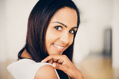 Beautiful Indian woman portrait happy smiling Stock Photo