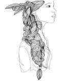 Beautiful Indian woman profile with creative braid Stock Image