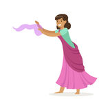 Beautiful Indian woman in a purple sari dancing national dance, colorful character vector Illustration. On a white background Stock Photo