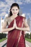 Beautiful Indian woman in sari costume Royalty Free Stock Photos