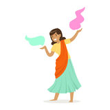 Beautiful Indian woman in a sari dancing national dance, colorful character vector Illustration. On a white background Royalty Free Stock Images
