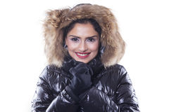 Beautiful indian woman with winter jacket Royalty Free Stock Images