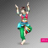 Beautiful indian women dancing coloring Royalty Free Stock Photography