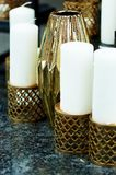 Beautiful Indonesian carved candle holders with candles.Warm and beautiful Stock Photography