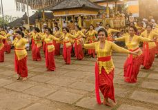 Beautiful indonesian people group in colorful sarongs - traditional Balinese style ethnic dancer costumes at Bali Arts and. Bali,Indonesia- March 5, 2018 royalty free stock images