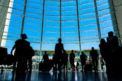 Beautiful Indoor Daytime Shot of Lisbon Airport Front Window on. Bright Summer Day August 2017 Stock Photo