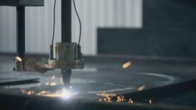 Beautiful Industrial laser plasma cutting angle stock video footage