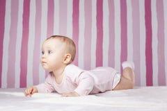 Beautiful infant portrait on colorful background. Stock Image