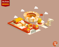 Beautiful info graphic design of Beijing city. Beijing China,Beijing city design in perspective,cute design of Beijing city consist of Forbidden City,Temple of Royalty Free Stock Images
