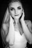 Beautiful innocent blonde bride posing, face closeup Stock Photography