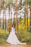 Beautiful innocent young brunette bride in gorgeous white dress stands on forest trail Royalty Free Stock Photography