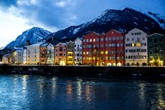 Beautiful Innsbruck cityscape panorama in the evening, winter, Christmas time. Innsbruck cityscape in the evening, Tirol, Austria. Christmas time royalty free stock image