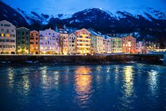 Beautiful Innsbruck cityscape panorama in the evening, winter, Christmas time. Innsbruck cityscape in the evening, Tirol, Austria. Christmas time royalty free stock photos