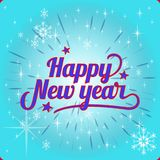 Beautiful Inscription Happy New Year, on a festive blue. Background.Vector Royalty Free Stock Photography