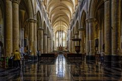 Beautiful inside shot of the Old Cathedral or Basilica of Our Lady in Tongeren, Belgium