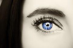 Beautiful insightful look blue  woman`s eye Stock Photo
