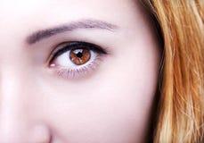 Beautiful insightful look brown woman`s eye. S Stock Photo