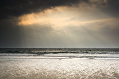 Beautiful inspirational sun beams over ocean Stock Photography