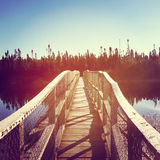 Beautiful instagram of bridge over water at dawn with effect Stock Photo
