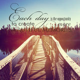 Beautiful instagram of bridge over water with inspirational quot Royalty Free Stock Photography