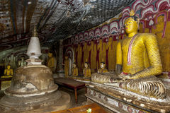 The beautiful interior of Cave Four at Dambulla Cave Temples in Sri Lanka. Royalty Free Stock Photos