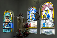 The beautiful interior of the chapel displaying stained glass windows at the summit of Santa Ana Hill in Guayaquil in Ecuador. To reach the hilltop you need to stock photography